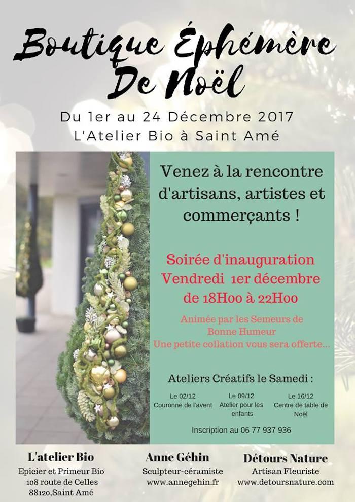 Boutique Ephémère de Noël - L'Atelier Bio - Saint-Amé